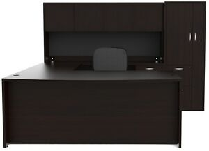 New Amber Bowfront U shape Executive Office Desk With Hutch And Wardrobe Storage