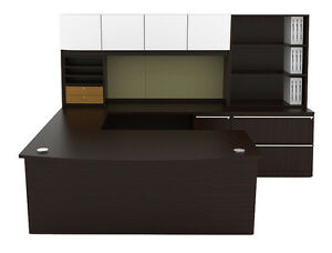 New Verde Modern Bowfront U shape Executive Office Desk Station Suite Set 733