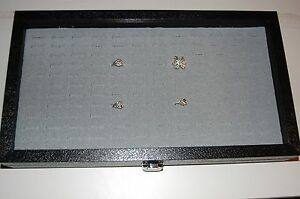 Glass Top 144 Slot Ring Gray Jewelry Display Showcase W Metal Hinge