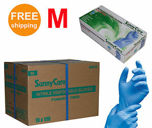 Sunnycare 1000 cs Nitrile Disposable Gloves Powder Free latex Free Size medium