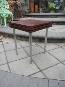 Super Cool Set Of 3 Walnut And Chrome Stacking Tables Mid Century Danish Modern