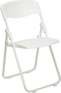 Lot Of 100 White Steel Frame Folding Chairs With 880 Lb Capacity