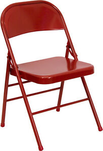 Lot Of 52 Heavy Duty Red Metal Folding Chairs