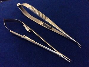 2 Castroviejo Micro Surgery Needle Holder 7 Curved straight Smooth Jaws