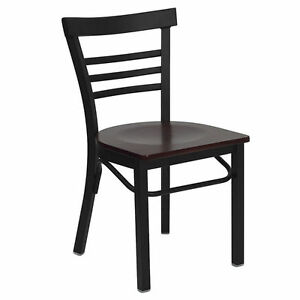 Lot Of 10 Metal Restaurant Chairs Deluxe Ladder Back With Mahogany Seat