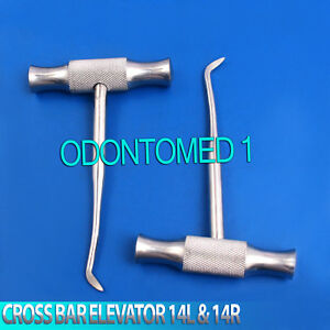 2 Pcs Cross Bar Dental Root Elevator Winter Blade 14l 14r