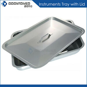 6 x10 x2 25 Stainless Steel Instrument Tray Organizer Holder With Lid Handle