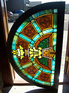 Arched Transom Window W Center Column Design Stained Glass Sg 1258