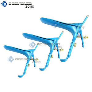 Lot Of 3 Pieces Blue Coated Lletz Leep Graves Speculum Small medium large