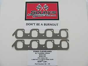 Ford Cleveland Exhaust Gaskets w 4v Heads boss 302 351 351 Cj 1 800 X 2 140