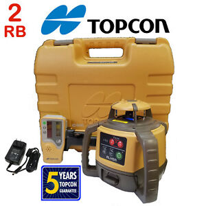 2 two Topcon Rl h4c Rotating Laser Levels 2 Rb Rechargeable Battery Package