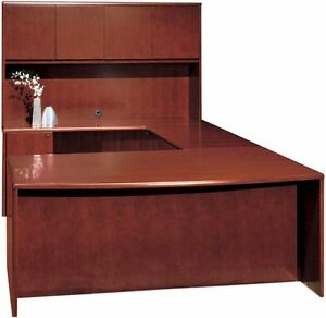 New Ruby Bowfront U shape Executive Office Desk With Hutch