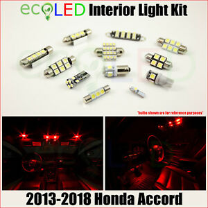 Fits 2013 2018 Honda Accord Red Interior Led Light Accessories Package Kit 12 Pc