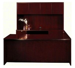 New Jade Bowfront U shape Executive Office Desk With Hutch