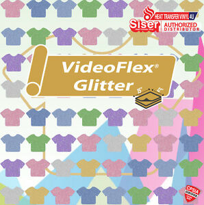 Siser Videoflex Glitter Heat Transfer Vinyl 15 X 12 1 Foot Select Your Color