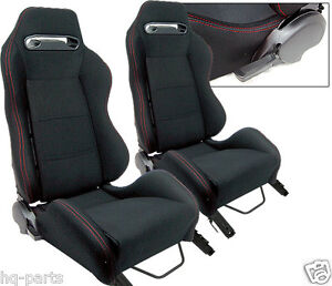 Pair Black Cloth Red Stitch Reclinable Racing Seats Fit For Bmw Sliders