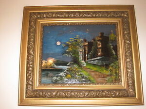 Antique Reverse Painting In Antique Gold Frame Large