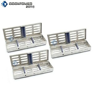 3 Trays Sterilization Tray Sterile Dental Instruments Cassettes Small Parts