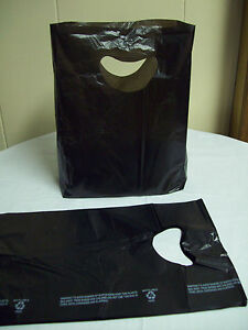 100 Bags 7 X 3 X 12 Black Plastic Merchandise Bags With Handles New