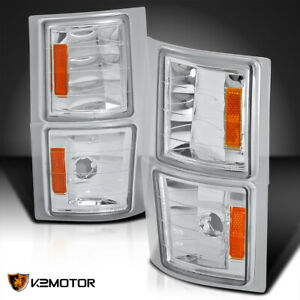For 94 98 Chevy C k Tahoe Suburban Silverado Clear Corner Lights 4pc Left right