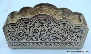 Ethnic Silver Desk Table Card Holder Handmade
