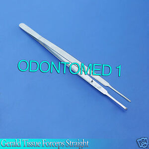 6 Gerald Tissue Forceps Straight 1x2 Surgical Instruments