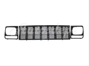 Bundle For 1997 2001 Cherokee Se Sport Grille Headlight Door Bezel Raw Black 3pc