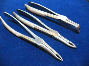 Set Of 3 Dental Tooth Extracting Root Tip Forceps Straight curved full Curved