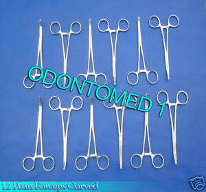 12 Stainless Steel Rochester Pean Hemostat Locking Forcep 12 Curved Tip