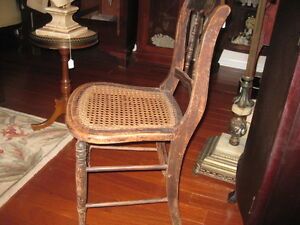 Antique Chair Cane Bottom Stenciled Back