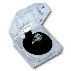 Deluxe Square Clear Acrylic Crystal Ring Gift Box W Black Velvet Insert 1pc