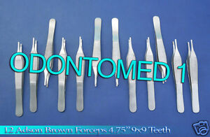 12 Adson Brown Forceps 4 75 9x9t Surgical Instruments