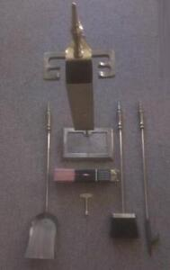 Vintage 1978 Antique Brass Plated 6 Piece Fireplace Tool Set