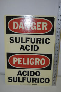 New Brady Signmark 39958 Danger Sulfuric Acid Peligro Bilingual Sign 20 X 14