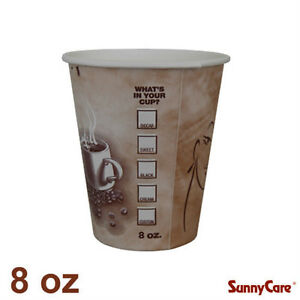 Sunnycare 8 Oz Hot Coffee Paper Cups case Of 1000