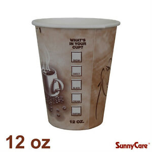 Sunnycare 12 Oz Hot Coffee Paper Cups case Of 1000