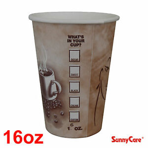 Sunnycare 16 Oz Hot Coffee Paper Cups case Of 1000