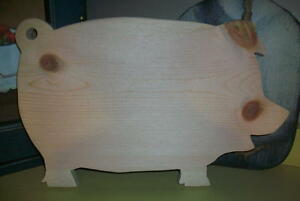Unfinished Wood Large Pig Cutting Bread Board Unfinished