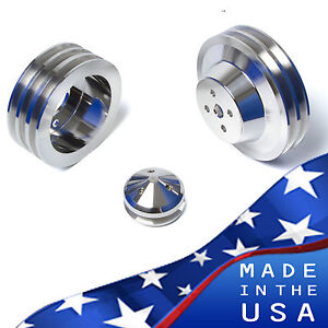 Big Block Ford Pulley Kit 429 460 Billet Aluminum Bbf V belt Pulleys 3v A c Ac