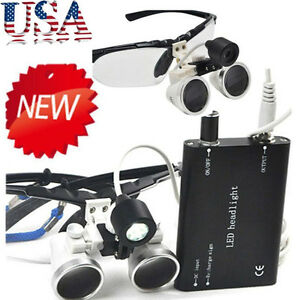 Dental Surgical Binocular Loupes Optical Glass Loupe led Head Light 3 5x 420mm