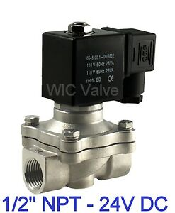 1 2 Inch Stainless Electric Air Water Gas Solenoid Valve Nc 24v Dc Viton Seal