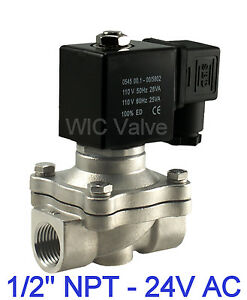 1 2 Normally Closed Industrial Stainless Water Electric Solenoid Valve 24vac