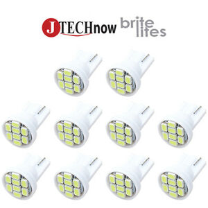 10x T10 8 Smd White Led Interior Instrument License Light W5w 194 168 2825 158