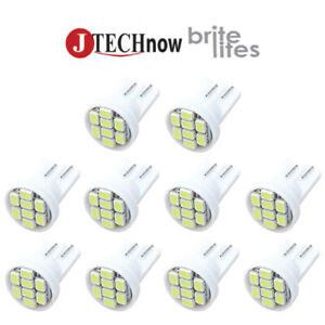 10x T10 8 Smd White Led Bulb Interior Instrument License W5w 194 168 2825 158