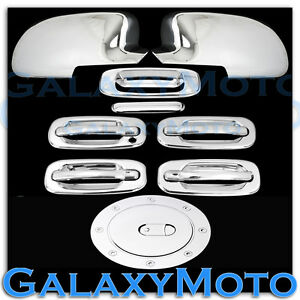 Chevy Silverado Chrome Full Mirror 4 Door Handle no Psg Kh tailgate gas Cover