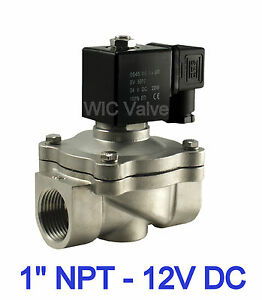 1 Stainless Zero Differential Air Water Solenoid Valve Normally Closed 12v Dc