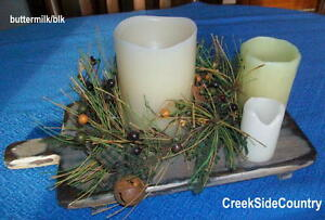 Primitive Old World Antique Look Breadboard Candle Holder Tray