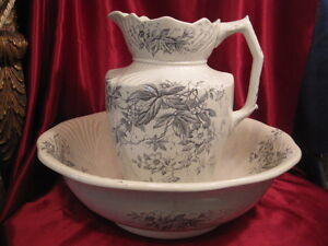 Large English 12 Pitcher And 16 Round Wash Bowl