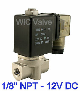 1 8 Inch Stainless Steel Air Water Solenoid Valve Normally Closed 12v Dc Viton