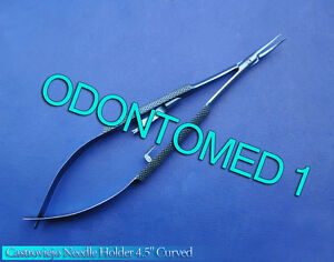 Castroviejo Needle Holder 4 5 Curved With Lock Titanium Surgical Instruments